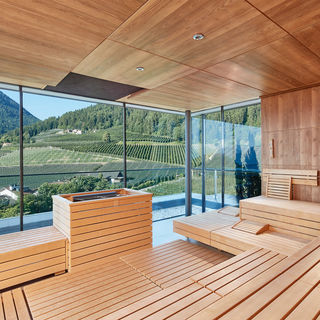 Sauna world in the Dolce Vita Hotel ALPIANA RESORT in Lana